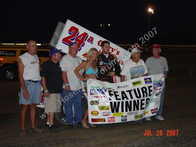 Brian Brown Wins Belleville Ks NCRA 360 Feature 7/26/2007