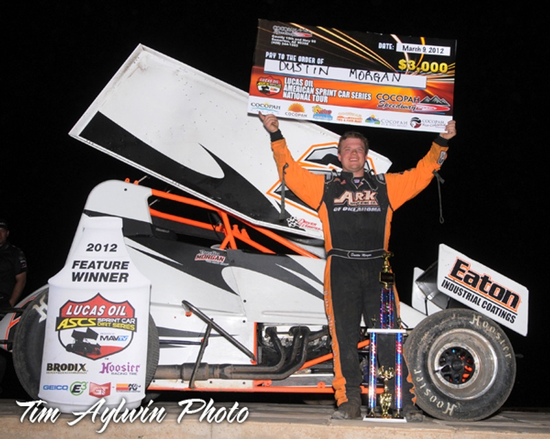 Dustin Morgan claimed his first Lucas Oil ASCS National Tour victory on Friday March 9, 2012 at Cocopah Speedway in Yuma, Arizona. Photo courtesy of Tim Aylwin.
