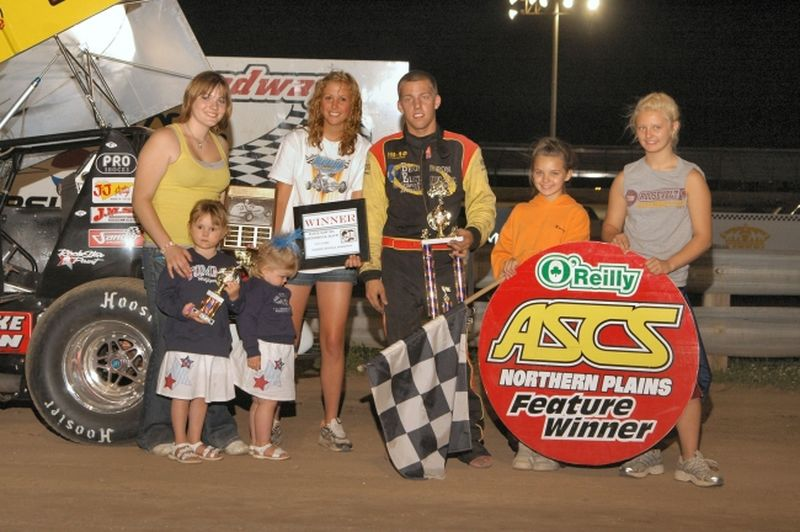 North Dakota's Lee Grosz captured his first ASCS Northern Plains Region feature win of the season by topping Saturday night's 16th Annual Kouba Memorial at North Central Speedway in Brainerd, MN.