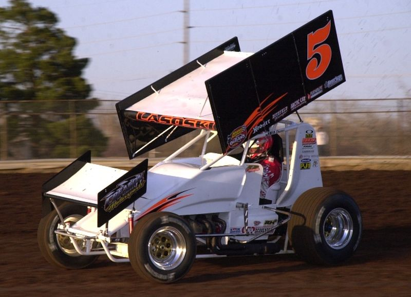 Danny Lasoski in O'Reilly American Sprint Cars on Tour action at Oklahoma City's State Fair Speedway on Friday night.