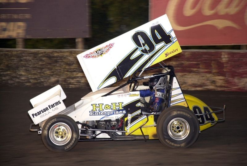 Wayne Johnson in O'Reilly ASCoT action at Kansas City's Lakeside Speedway on Friday night.