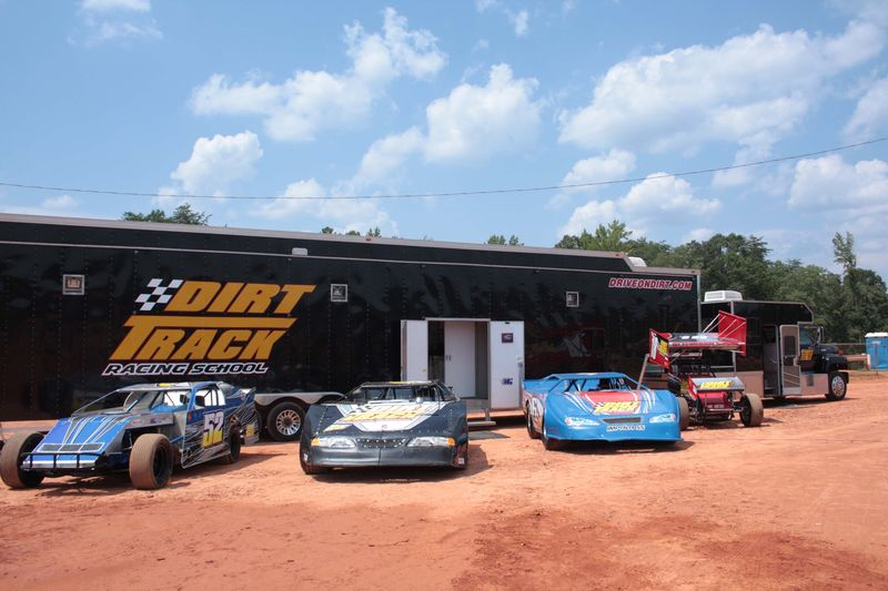 Dirt Track Racing School cars ready to roll