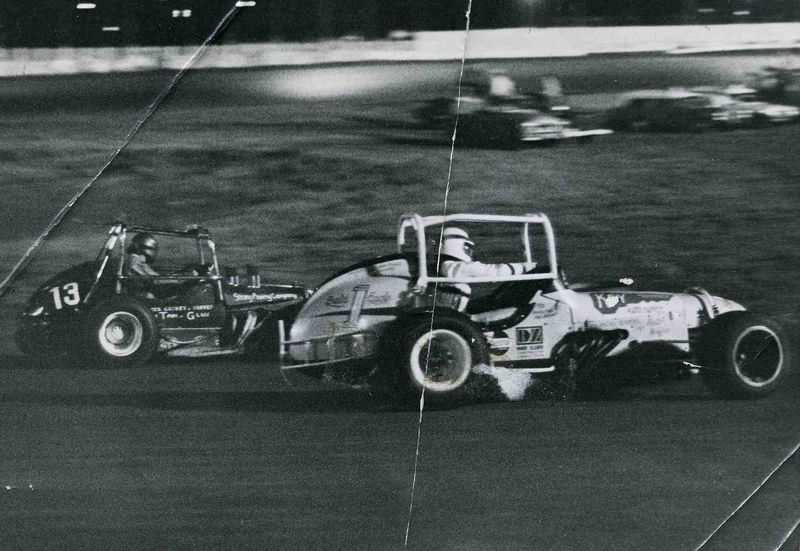 Zahn leads Wolfman out of turn four, Lubbock, 1972.